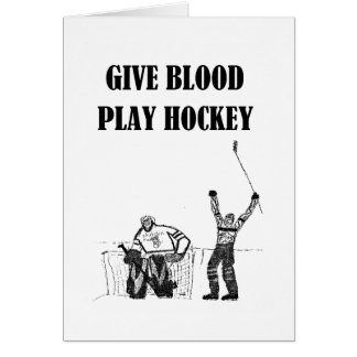 Give Blood Play Hockey Card