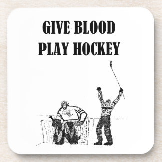 Give Blood Play Hockey Drink Coasters