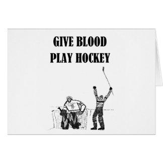 Give Blood Play Hockey Greeting Card