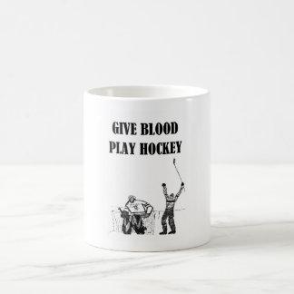 Give Blood Play Hockey Coffee Mugs