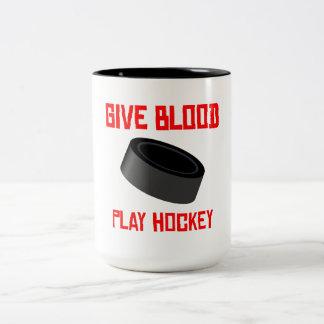 Give Blood Play Hockey Coffee Mug
