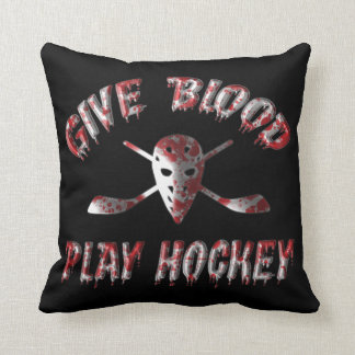 Give Blood Play Hockey Pillow