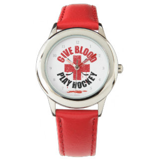 Give Blood Play Hockey Wristwatch