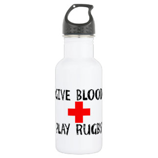 Give Blood, Play Rugby 532 Ml Water Bottle
