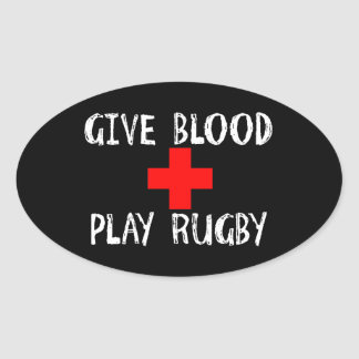 Give Blood, Play Rugby Oval Sticker