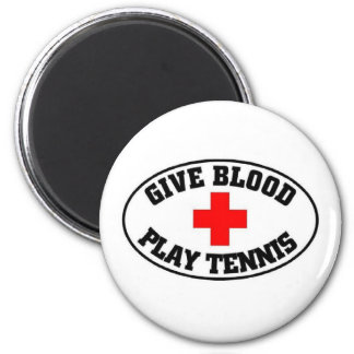 give blood play tennis magnet