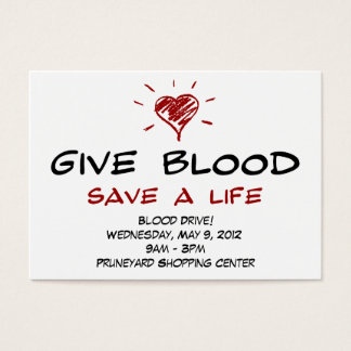 Give Blood Save A Life Blood Drive Chubby Template Business Card