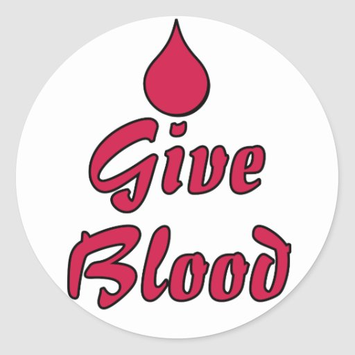 Give Blood Round Stickers