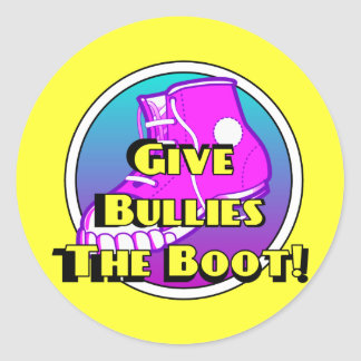Give Bullies The Boot Product Round Sticker