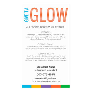 GIVE IT A GLOW - Mini Facial Instruction Card Pack Of Standard Business Cards