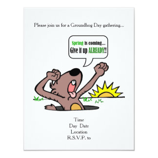 Give It Up! Groundhog Day Party Invitation
