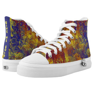 Give Me Gold Abstract Blue with Red Printed Shoes