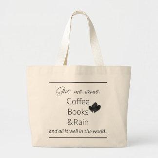 Give me some coffee, books and rain jumbo tote bag