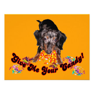 Give Me Your Candy Dachshund with Candy Custom Announcements