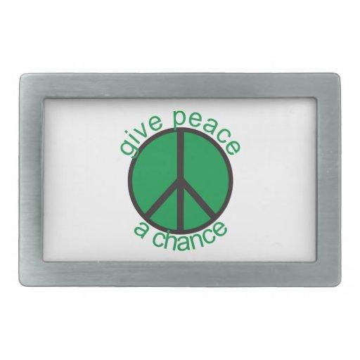 Give peace a chance rectangular belt buckle