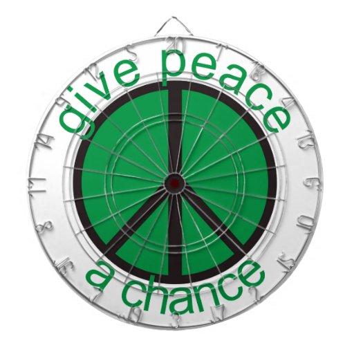 Give peace a chance dartboard with darts