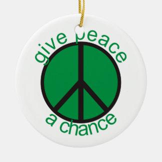 Give peace a chance christmas tree ornaments