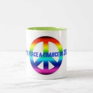 Give peace a chance in 2016 cup Two-Tone mug