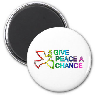 Give Peace a Chance (Rainbow) 6 Cm Round Magnet