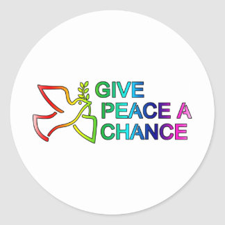 Give Peace a Chance (Rainbow) Round Stickers