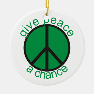 Give peace a chance round ceramic decoration