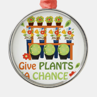 Give Plants Chance Silver-Colored Round Decoration