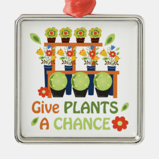 Give Plants Chance Silver-Colored Square Decoration