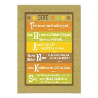 GIVE THANKS 2-Sided Scripture Thanksgiving Card 13 Cm X 18 Cm Invitation Card