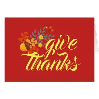 Give Thanks | Autumn Fall Leaves & Acorns Card