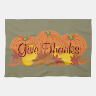 Give Thanks Autumn Harvest Thanksgiving Tea Towels