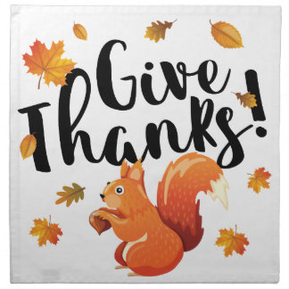 Give Thanks Autumn Squirrel Cloth Napkins