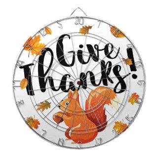 Give Thanks Autumn Squirrel Dartboard