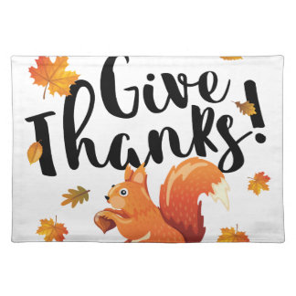 Give Thanks Autumn Squirrel Placemats