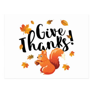 Give Thanks Autumn Squirrel Postcard