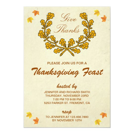 Give Thanks | Autumn Wreath Thanksgiving Party Card