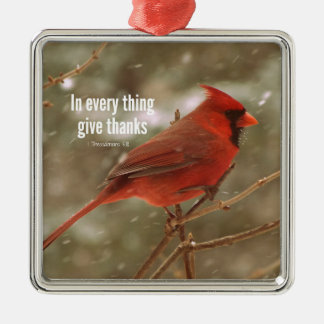 Give Thanks Bible Verse Christmas Ornament
