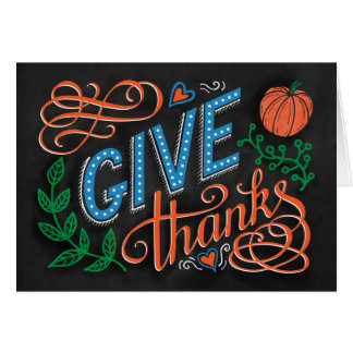 Give thanks colored chalk hand lettering quote card