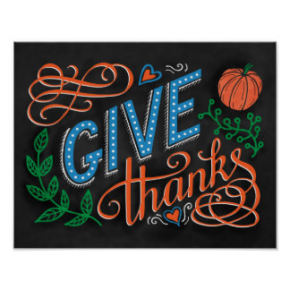 Give thanks colored chalk hand lettering quote poster