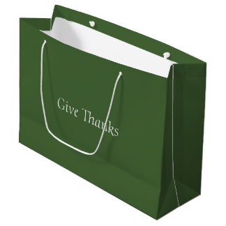 Give Thanks Durable Gift Bag- Green Large Gift Bag