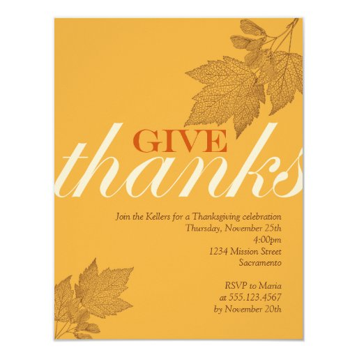 Give thanks fall brown leaves Thanksgiving dinner 11 Cm X 14 Cm Invitation Card