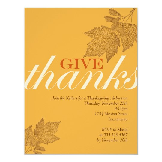 Give thanks fall brown leaves Thanksgiving dinner Card
