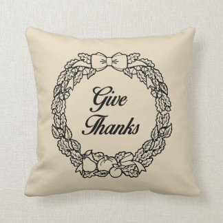 Give Thanks Fall Decorative Throw Pillow
