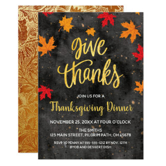 Give Thanks, Falling Leaves Thanksgiving Invite