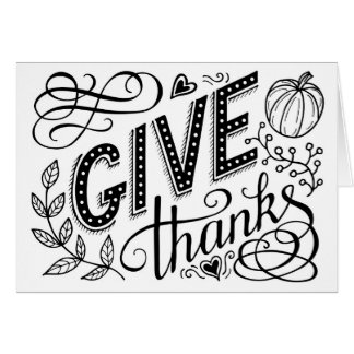 Give thanks hand lettering quote card