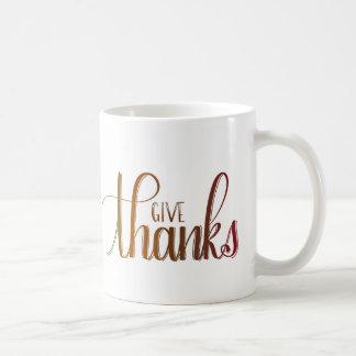 Give Thanks, Handlettered Mug, Autumn Colors Coffee Mug