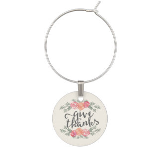 Give Thanks | Ivory Watercolor Floral Thanksgiving Wine Charm