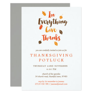 Give Thanks Leaves Thanksgiving Potluck Invitation