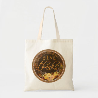 Give Thanks, Rustic Stitched Burlap Tote Bag