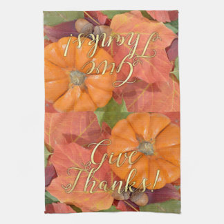 Give Thanks Script Typography Autumn Thanksgiving Tea Towel