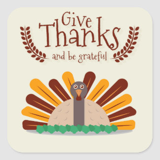 Give Thanks Square Sticker